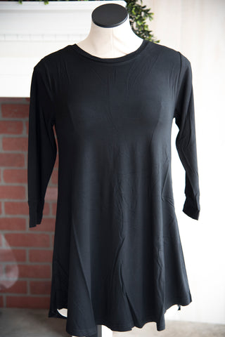 A Line 3/4 Sleeve Solid Black