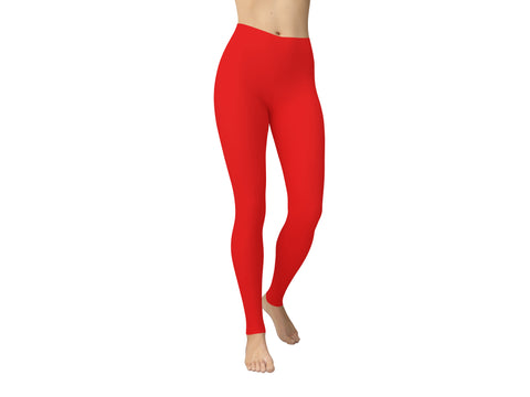 JAMBY Bright Red Solid Yoga Leggings