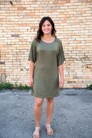 Olive Half Sleeve Lace Dress