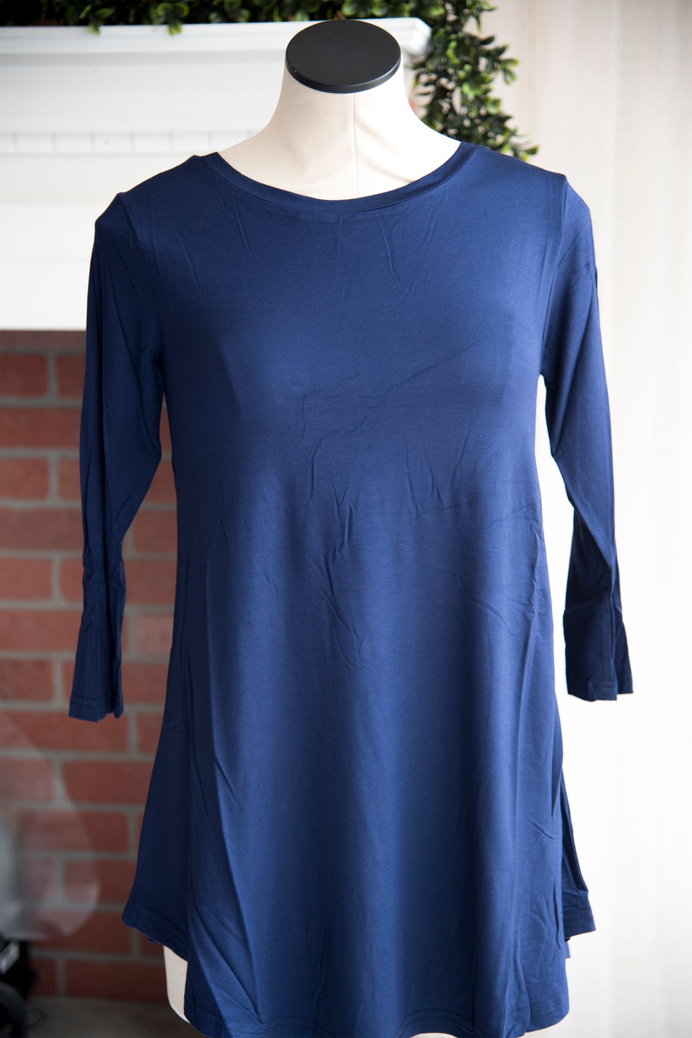A Line 3/4 Sleeve Solid Navy