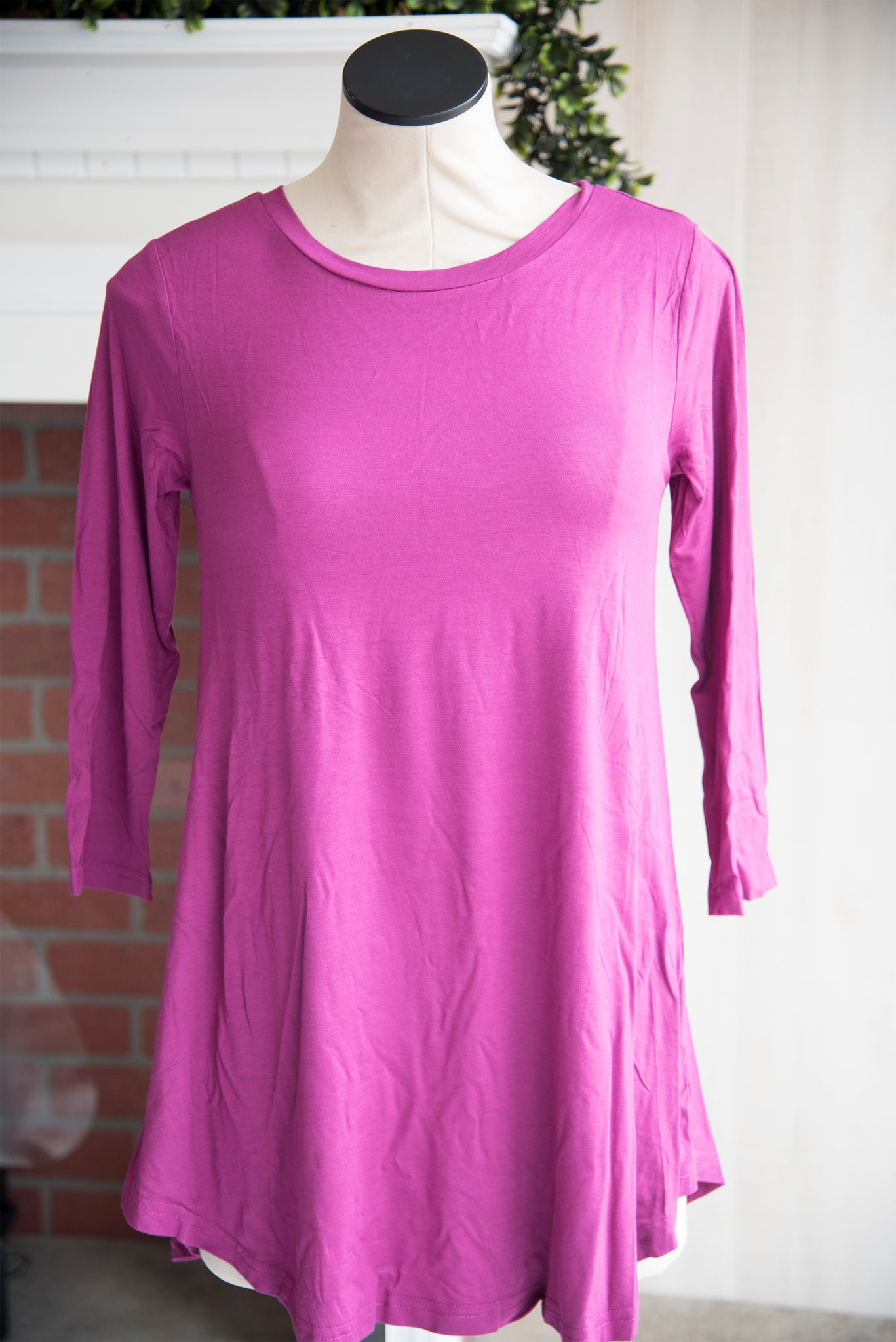 A Line 3/4 Sleeve Solid Magenta