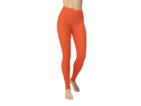 JAMBY Light Tangerine Solid Yoga Leggings