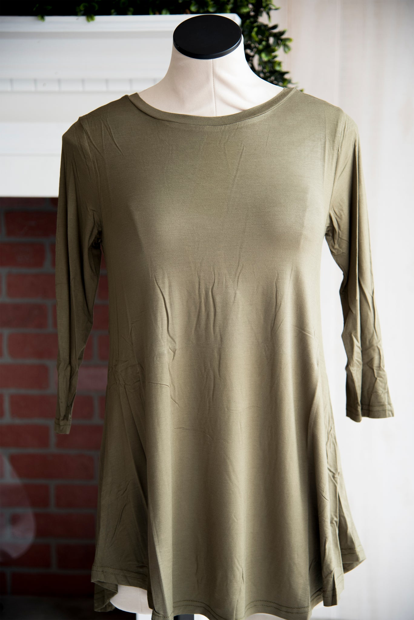 A Line 3/4 Sleeve Solid Olive