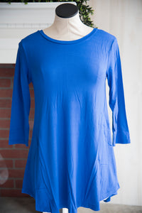 A Line 3/4 Sleeve Solid Royal Blue