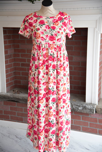 Pink/Yellow Floral Maxi Dress