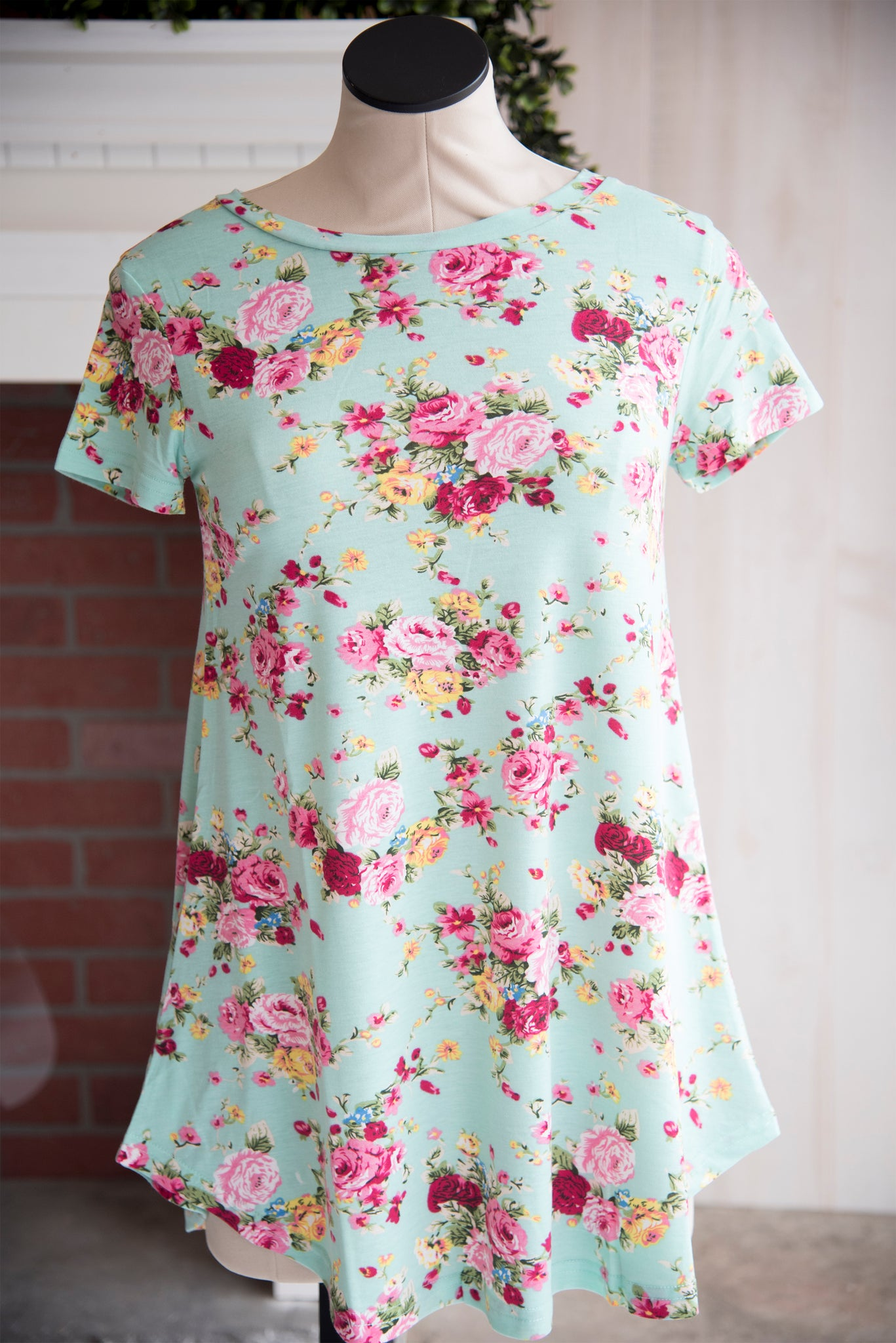 A Line Short Sleeve Mint Floral