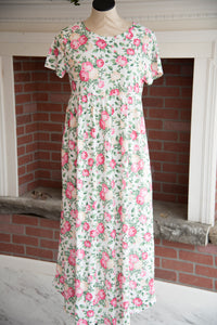 White/Pink/Green Floral Maxi Dress