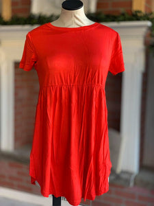 Red/Orange Baby Doll Tunic