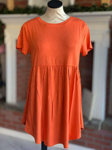 Orange Baby Doll Tunic