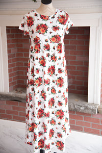 White/Red Floral Maxi Dress