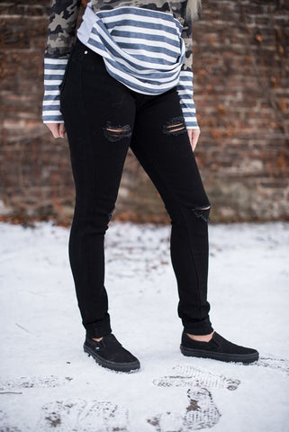 Black Distressed Jamby Jeans