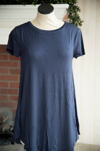 A Line Short Sleeve Solid Navy
