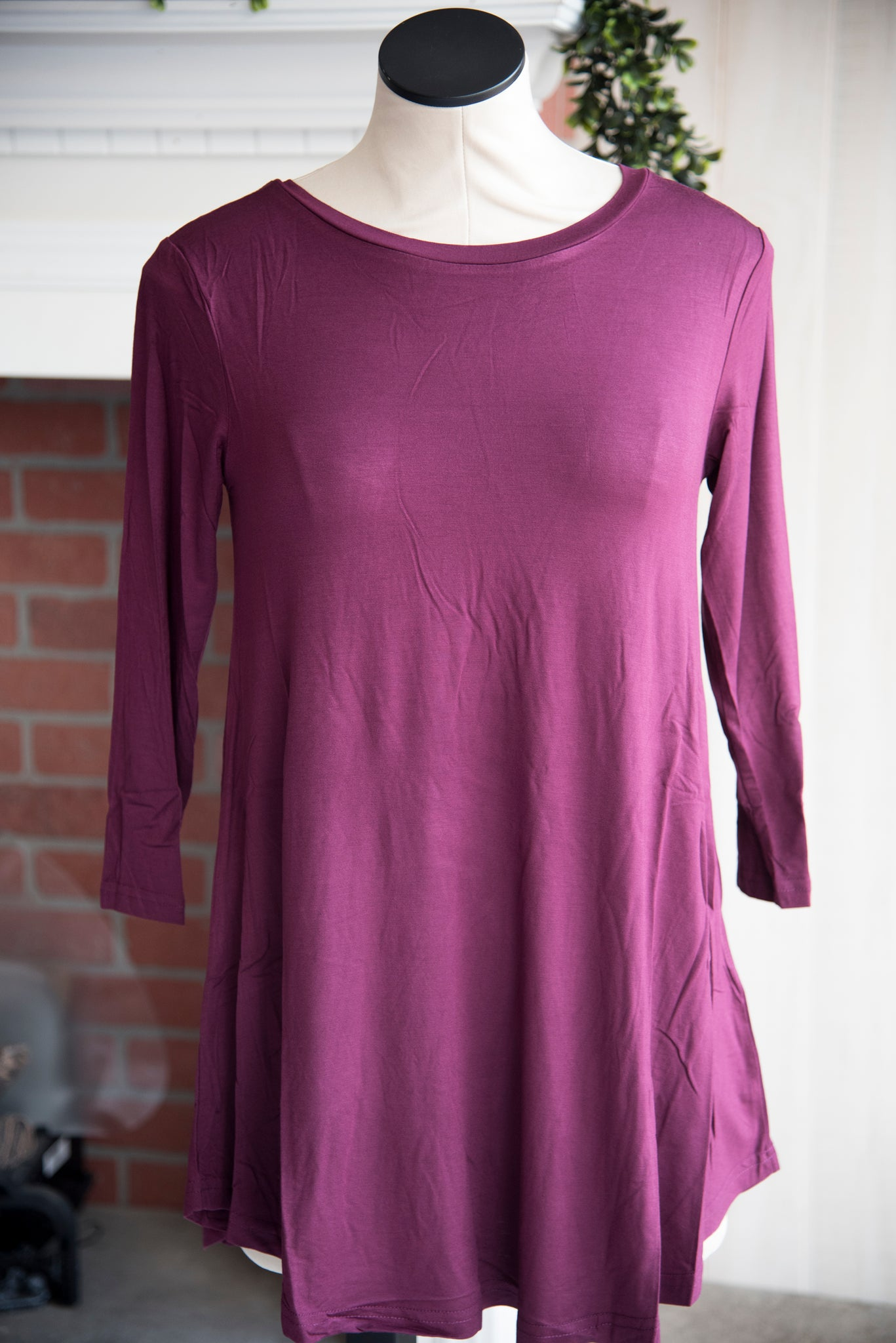 A Line 3/4 Sleeve Solid Plum