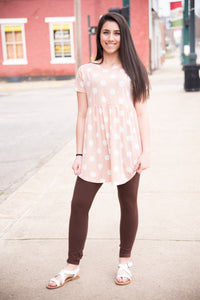 Peach & White Polka Dots Baby Doll Tunic