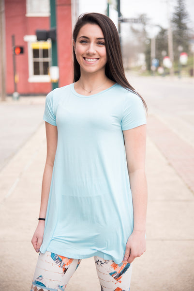 A Line Short Sleeve Light Teal Solid