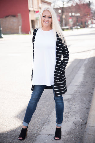 Black With White Stripe Cardigan