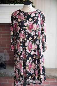 Black Floral Raglan Dress