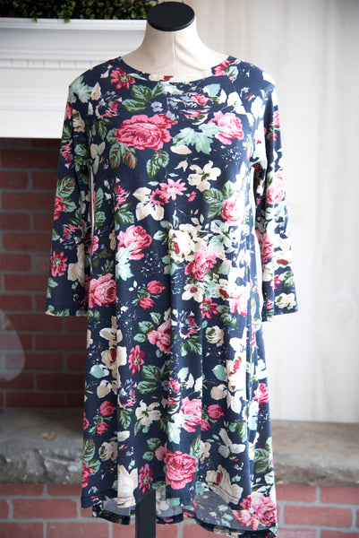 Navy Floral Raglan Dress