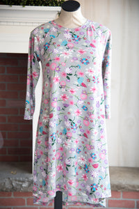 Gray Floral Raglan Dress