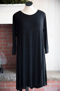 Solid Black Raglan Dress