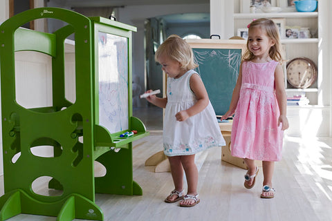 children play with Wooden Art Easel