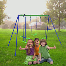 Load image into Gallery viewer, Outdoor Baby Toys Childrens Folding Swing Baby Swing Set with 2 baby swing & Seesaw, Best Birthday Chrismas gift - sportstoys