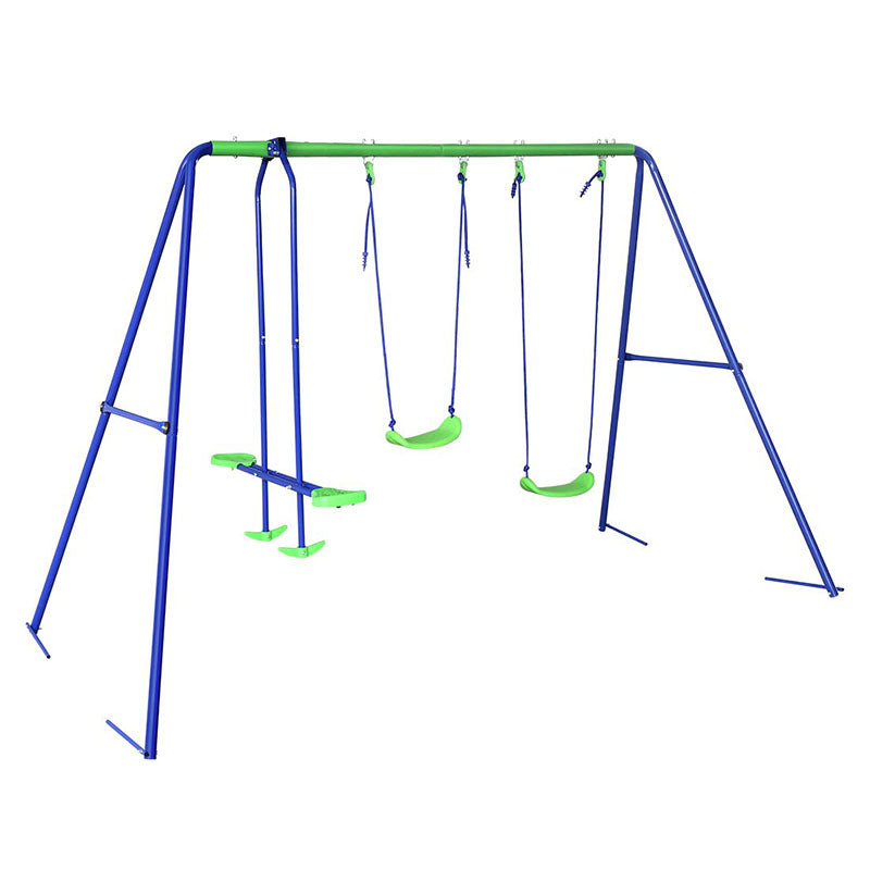 Outdoor Baby Toys Childrens Folding Swing Baby Swing Set with 2 baby swing & Seesaw, Best Birthday Chrismas gift - sportstoys