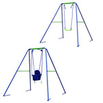 Load image into Gallery viewer, HLC Outdoor Swingset-Boys Girls-2 in 1 Toddler Swing Seat with A-Frame Metal