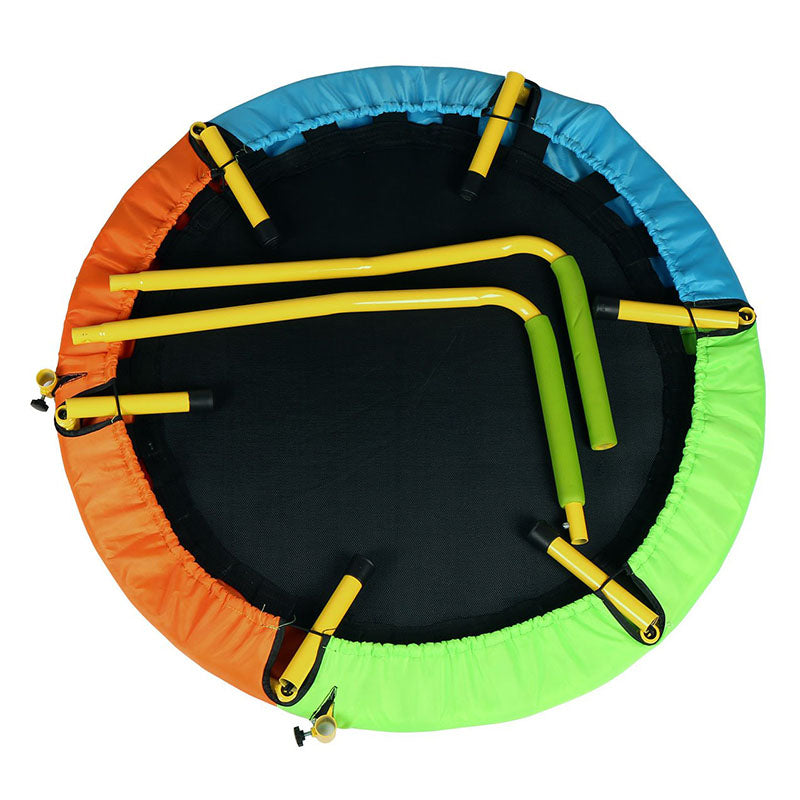 Round Trampoline Folding Children Trampoline Exercise Rebounder with Handle - sportstoys