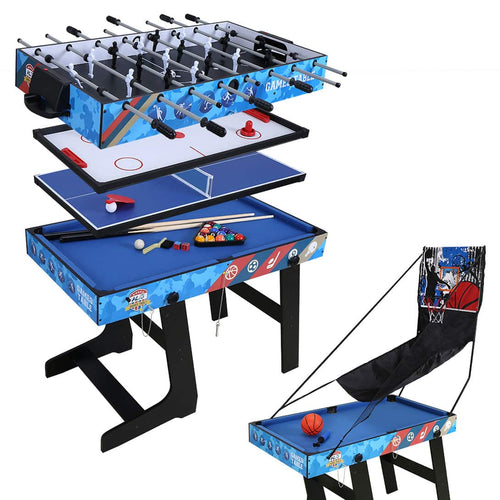 HLC 	fold up Game Table- 5-in-1 Multi-Function Tabletop Game Combination-Air hockey, Basketball, Foosball, Table tennis, Billiards