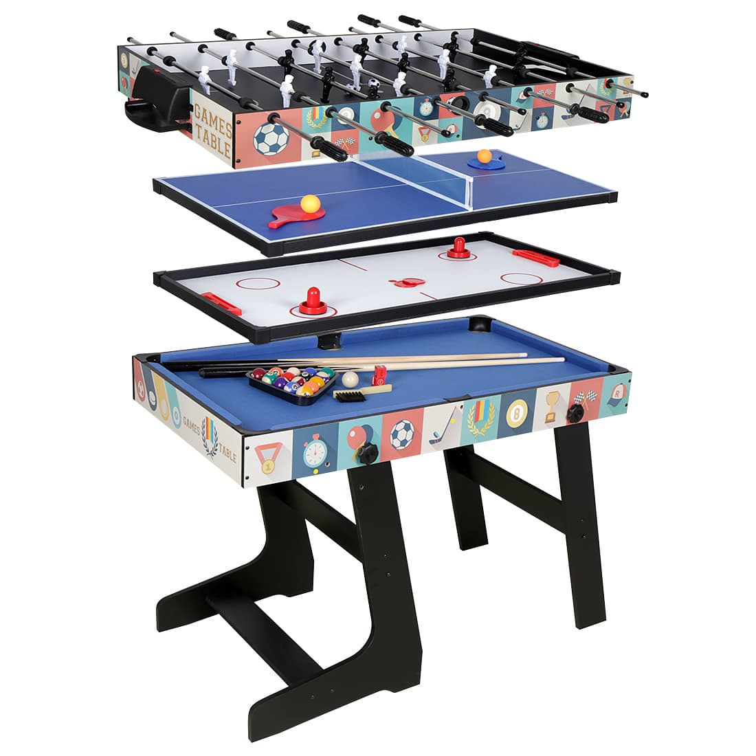 HLC 	fold up Game Table-Contractile Tabletop Game-Air powered hockey-Billiards-Table tennis-Foosball-4 different playground boards