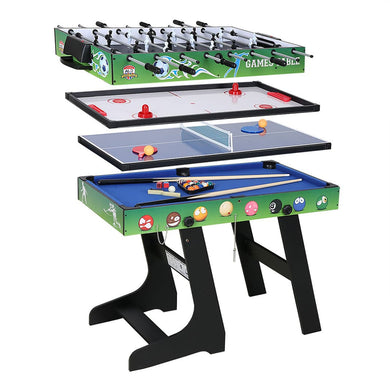 4 in 1 Green Game Table with Pool Billiard Slide Hockey Foosball and Table Tennis