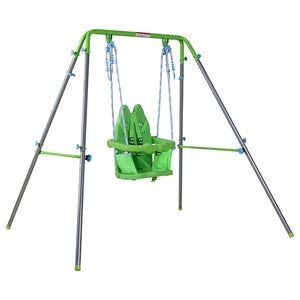 HLC Outdoor Swing-Boys Girls-Green Rabbit Metal Swing for Baby