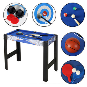 HLC Game Table-5 in 1 Tabletop Game-Multi-function Sports Game Table-Air powered hockey, Billiards, Basketball hoop,Table tennis,Archery sets