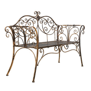 Antique Bronze Metal Garden Bench Chair 2 Seater for Garden, Yard, Patio, Porch and Sunroom