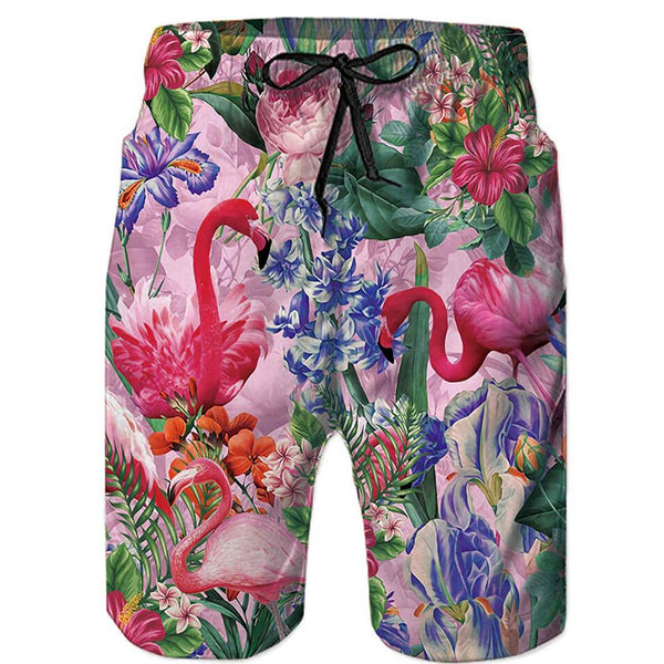 Flowers Flamingos Swim Trunk