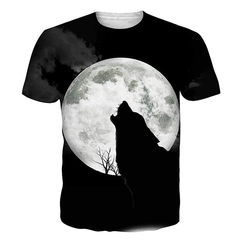 Full Moon Wolf T Shirt Black