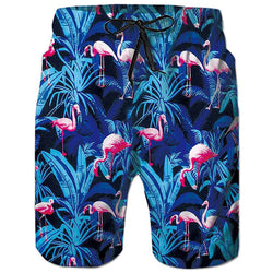 Blue Flamingos Swim Trunk