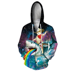 Cat Riding Shark Zip Graphic Hoodie