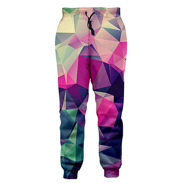 Graphic Colorful Diamond Sweatpants Funny Pink Geometric Joggers Pants Sports Trousers with Drawstring