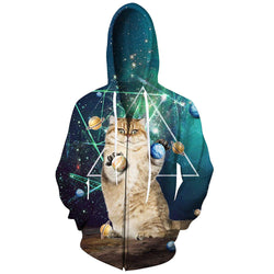 Space Planet Cat Zip Up Hoodie