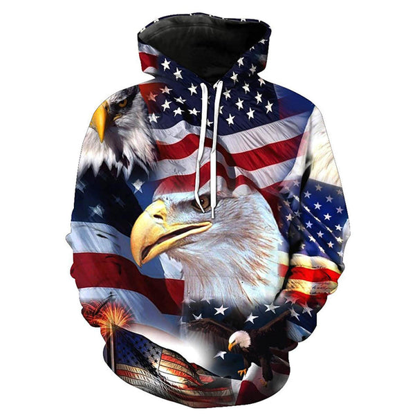 Eagle Patriot American Flag Graphic Hoodie
