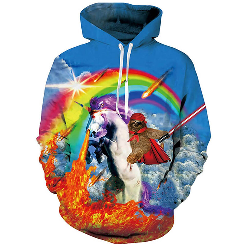 Sloth Riding Unicorn Graphic Hoodie