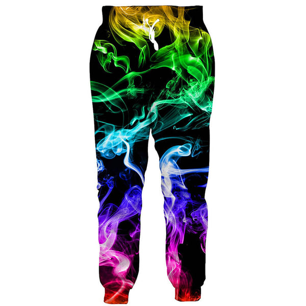 Graphic Colorful Fire Smoke Joggers