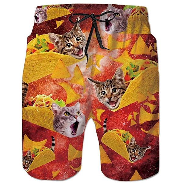 Taco Cat Swim Trunks Red