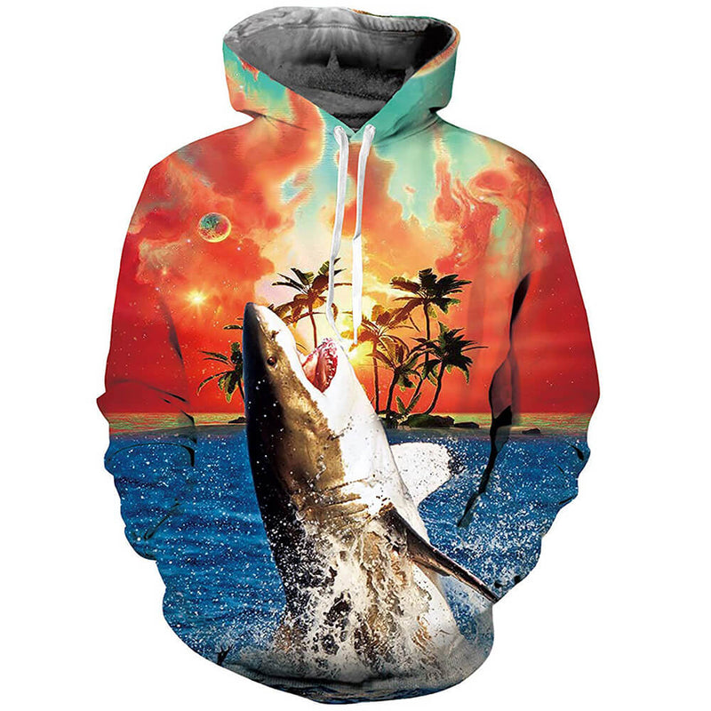 Unisex 3D Printed Shark Pullover Hoodie Long Sleeve Fleece Shark Hooded Sweatshirts with Pockets