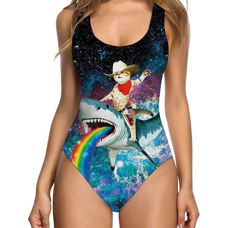 Cat Riding Shark Ugly One Piece Swimsuit