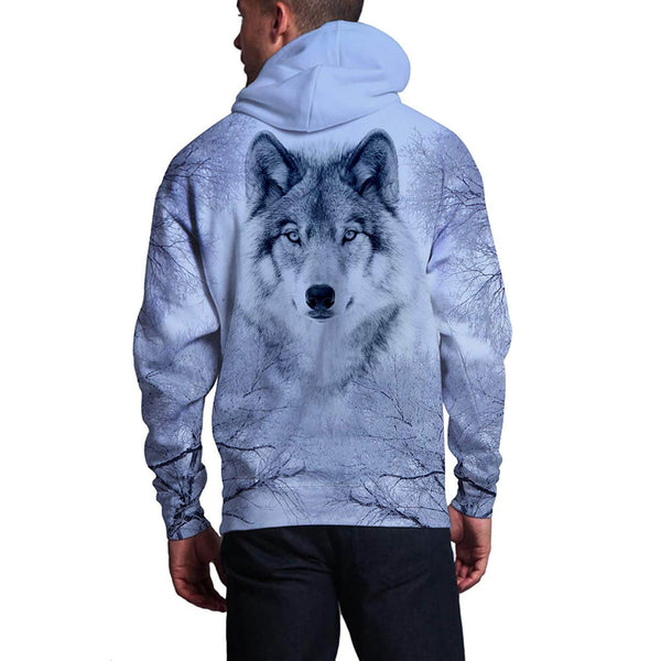 Snow Forest Wolf Hooded Sweatshirt