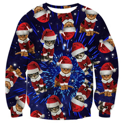 Space Cat Christmas Sweatshirt Ugly Christmas Sweatshirt