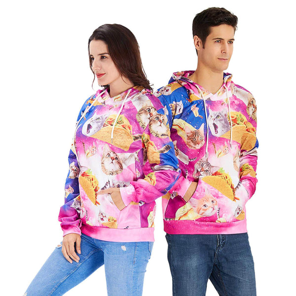 Pink Taco Cat Graphic Sweatshirts